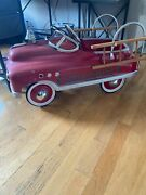 Kalee Delux Fire Fighter Engine 23 Fire Truck Metal Pedal Car With Wood Ladders