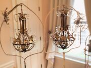 Pair Chandelier Lamps Vtg Antique Tole Cage French Italian Empire Crystal Prism