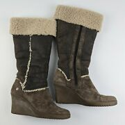 Ugg Leather Brown Tall Wedge Boots Size 7 Womenand039s Shearling Cuff Sandra 5451