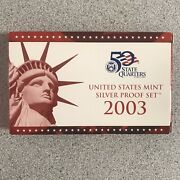 2003-s Us Mint Silver Proof Set In Original Box With Coa