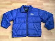 90s Rare Vtg First Down Duck Down Puffer Coat Ski Winter Blue Jacket Menand039s Sz S