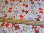 2 Yards White With Woodland Animals/fox/deer/owl/racoon Flannel Fabric