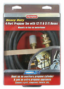 59123 Camco Propane Brass 4 Port Tee Comes With 5ft And 12ft Hoses, Allows For