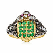 Vintage Diamond Green Garnet And Ruby-accented Ring In Sterling Silver And 14kt