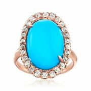 Vintage Simulated Turquoise And Diamond Ring In 14kt Rose Gold Size 5.25