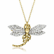 Vintage Diamond Dragonfly Pin/necklace In 18kt Two-tone Gold 16