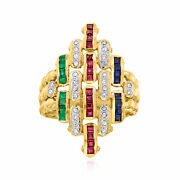 Vintage Multi-gemstone And Diamond Fashion Ring In 18kt Gold Size 7