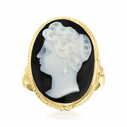 C. 1960 Vintage Black Agate Cameo Ring In 14kt Yellow Gold. Size 6.5