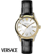 Versace Veua00320 Apollo Gent White Gold Silver Black Leather Menand039s Watch New