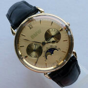 Rare Bmw Vintage 14k Gold Classic Car Accessory Moon Phase Made In Germany Watch