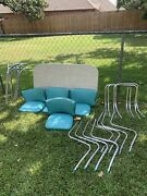 Vintage 50's Chrome And Aqua Vinyl Kitchen Dining Table And 4 Chairs Set