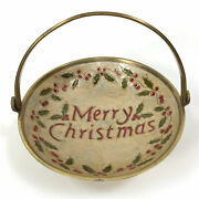Vintage Solid Brass Enameled Cloisonnandeacute Bowl With Handle Merry Christmas Basket