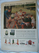 1956 Vtg Original Magazine Ad Thermos Products Now Every Outing Is A Banquet