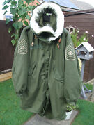 M65 Fishtail Parka Medium + Liner And Winter Hood Usmc Marine Corps Patches , Ace