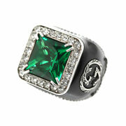 Crystal Detail Signet Ring Sv925 Mens Jewellery Accessory Secondhand _8580