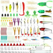 240pcs Fishing Lures Kit For Bass Trout Salmon With Tackle Box Fishing Access..