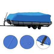 17and039-20and039 600d Oxford Fabric Waterproof Heavy Duty Boat Cover Blue W/ Storage Bag