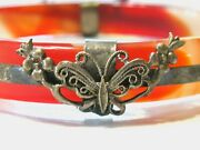 Antique Asian Chinese Caged Bangle Bracelet Sterling Silver Butterflies Flowers
