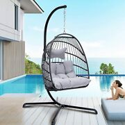 Swing Hammock Egg Chair With Stand And Cushions Set -collapsible Hanging Chair New