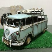 Retro Wagen Bus Rusted Tin Mini Car With Surfboard