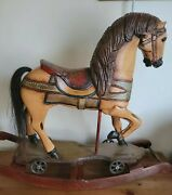Antique Rocking Horse Wood Carousel Hand Painted Carved W/ Iron Wheels Vintage