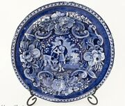 Antique Historical Blue Transferware Clews Peace And Plenty Plate - Staffordshire