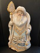 Christmas Santa Russian Wooden Hand Carved Hand Painted Signed 12.25in. Tall