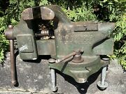 Antique 25 Pound Large Erie Tool Superior Heavy Duty Swivel Bench Vise 4andrdquo Jaws