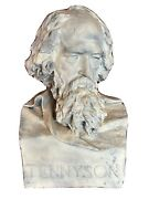 Large Life Size Antique 19th C Victorian Portrait Bust Alfred, Lord Tennyson