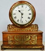 Rare Antique English Regency Rosewood And Boulle 8 Day Single Fusee Bracket Clock
