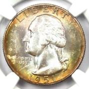 1951-s Washington Quarter 25c Coin - Certified Ngc Ms68 Cac - 3250 Value
