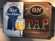 Vintage Advertising Pabst Blue Ribbon On Tap Painted Wood Bar Sign Pbr Man Cave