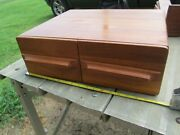 Antique 2 Drawer Teak Wood Dovetailed Card Catalog Index File Box - Exc Cond
