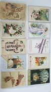 Lot Of 10 Vintage Easter Greetings Postcards Collectible 1900s