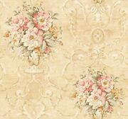 Traditional Floral Vase Wallpaper In Golden Yellow Tx40005 From Wallquest