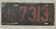 1914 Michigan License Plate Porcelain 7313 Black And Red Over 100 Years Old