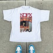 Vintage 90s Nofx Band Music Tee White Trash Two Heebs And A Bean