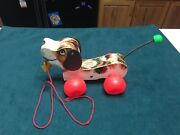 Vintage Fisher Price 1965 Little Snoopy Wooden Pull Toy 693