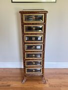 Maitland Smith Glass Drawer Front Chest Lingerie Jewelry Lion Versace-style