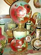 Vintage Gone With The Wind Handpainted Floral Victorian Lamp