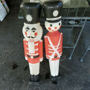 Vintage Union Products 30 Toy Soldier Blow Mold Pair Black Hats One Light Works
