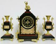 Exquisite Antique French 8 Day Oriental Style Marble Mantle Clock Garniture Set