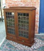 English Antique Leaded Glass Mahogany Bookcase / Display Cabinet