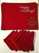 Red Velvet Christmas Tree Happy Holidays Placemats And Napkin Set Of 12 6/ea Euc