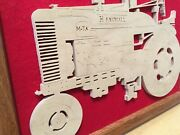 Wood Farmall Tractor Artist Signed Framed Carving Farm Picture