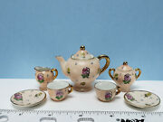 Vintage Blush Pink Miniature Tea Set With Pokadots And Flowers By Jsco Of Japan