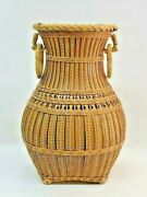 Bamboo Basket Japanese Antique Art In The Shape Of A Jar 11inch By Itchi Kusai