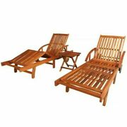 3pc Wooden Sun Lounger Set Outdoor Pool Beach Chaise Lounge Chair +folding Table