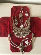 Kyles Collection Jewellery- Bridal Set In Stunning Gold, Red Stone And Pearl