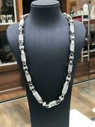Cz Block Chain Solid 925 Sterling Silver Heavy Silver Necklace 36 7mm 137gr